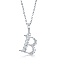 sterling silver & diamond initial letter B necklace