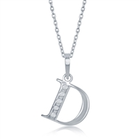 sterling silver & diamond initial letter D necklace