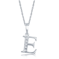 sterling silver diamond initial letter E necklace