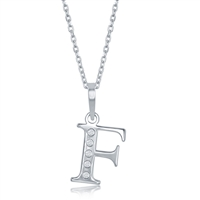 sterling silver diamond initial letter F necklace