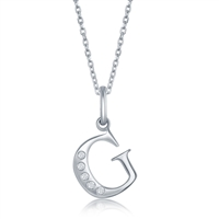 sterling silver diamond initial letter G necklace