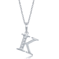 sterling silver diamond initial letter K necklace