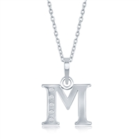 sterling silver diamond initial letter M necklace