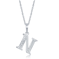 sterling silver diamond initial letter N necklace