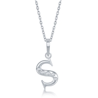sterling silver diamond initial letter S necklace