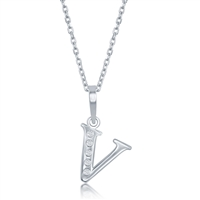 sterling silver diamond initial letter V necklace