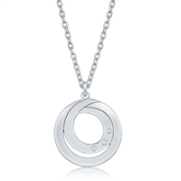 sterling silver double swirl diamond necklace