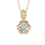10k yellow gold diamond flower necklace
