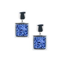 Frederic Duclos blue druzy sterling silver earrings