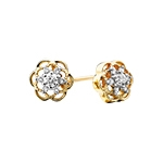 10k yellow gold diamond flower earrings
