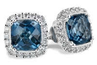 14k white gold diamond & London blue topaz earrings