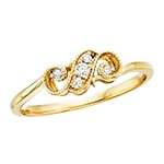 10k yellow gold diamond filigree ring
