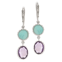 Frederic Duclos sterling silver amethyst & amazonite earrings