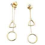 10k yellow gold circle & triangle diamond dangle geometric earrings