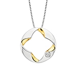 sterling silver & yellow gold two tone diamond necklace
