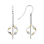 sterling silver & yellow gold plated dangle diamond earrings