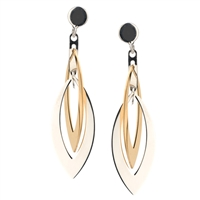 Frederic Duclos sterling silver & yellow gold plated marquise earrings