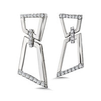 14k white gold & diamond dangle drop earrings
