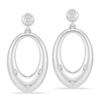 Stefano Bruni designs classic & contemporary sterling silver & diamond earrings