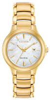 ladies citizen eco drive chandler gold tone watch
