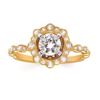 14k yellow gold diamond engagement semi-mount ring