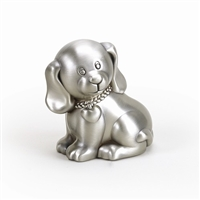 pewter finish puppy dog baby bank