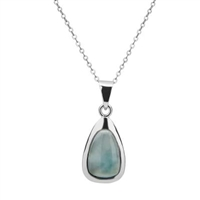 sterling silver Larimar teardrop necklace