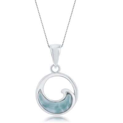 sterling silver Larimar wave necklace