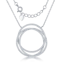Sterling Silver CZ cubic zirconia triple circle necklace