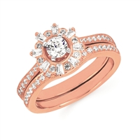 14k rose gold diamond engagement ring wedding set
