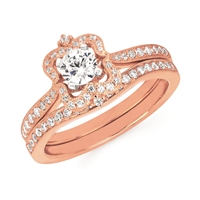 14k rose gold diamond engagement ring & wedding band