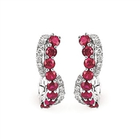 14k white gold ruby & diamond swirl hoop earrings