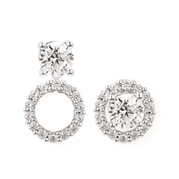 14k white round diamond halo earring jackets