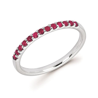 white gold ruby stackable ring
