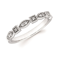 White Gold & Diamond Millgrain Stackable Ring