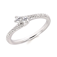 2Us 2 Stone Diamond Bypass Ring