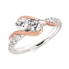2US 2 stone diamond fashion ring with rose gold accents
