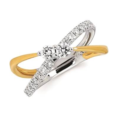 Two tone 2 stone diamond criss cross ring
