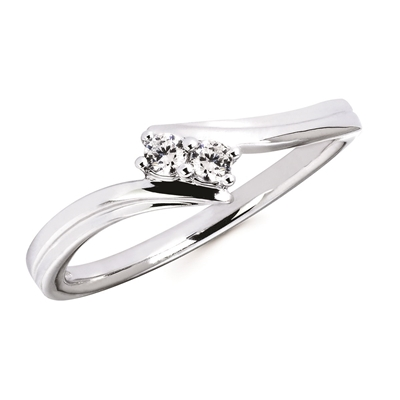 10k white gold 2 stone diamond ring