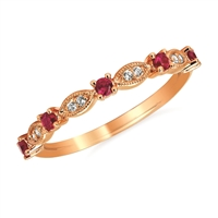 14k rose gold stackable ring with ruby & diamond