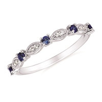 14k white gold sapphire & diamond stackable band ring