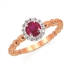 14k rose gold diamond & genuine ruby ring