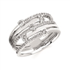 14k white gold diamond crossover fashion ring