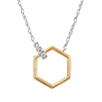 14k white & yellow gold two tone geometric hexagon diamond necklace