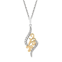 14k two tone diamond filagree necklace