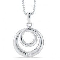 Stefano Bruni designs effortless elegance circle spiral sterling silver & diamond pendant