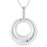 Stefano Bruni Designs classic & contemporary sterling silver & diamond round circle pendant