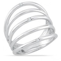 Stefano Bruni designs quintessential feminine sterling silver & diamond ring
