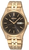 Mens Gold Solar Powered Watch with Black Dial