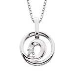 sterling silver & diamond circle swirl necklace